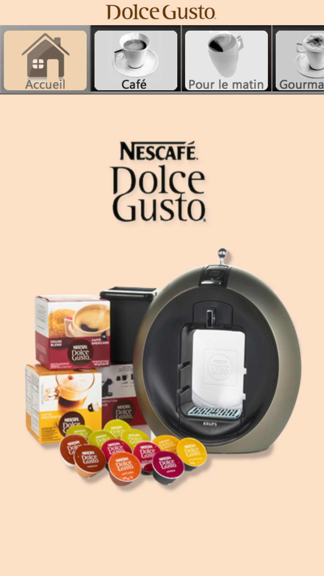 Application mobile Dolce Gusto Android iPhone iOS Assistech